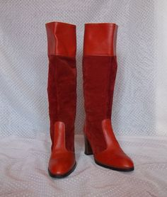70's Burnt Orange/Red Suede and Leather Go Go Boots Size 7 $55