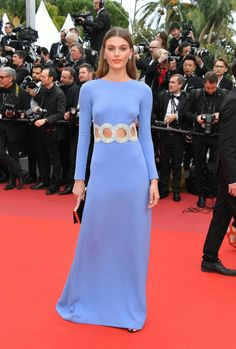 "Madison Headrick wore a Miu Miu light blue gown with crystal embroidery at the waist to the ""Once Upon a Time in Hollywood"" premiere at the 2019 Cannes Film Festival. Gucci Gown, Dior Gown, Valentino Gowns, Carla Bruni, Julien Macdonald, Julianne Moore, Elle Fanning, Alessandra Ambrosio, Amber Heard"