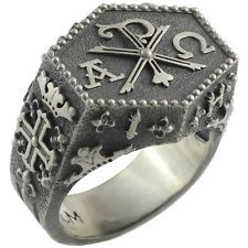 Knights Templar IHSV Masonic Chi Rho Silver Ring Cross of Constantine US Sizes