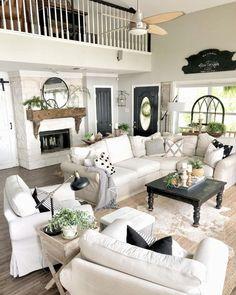 Best farmhouse living room decor ideas, living room interior design tips Cozy Living Rooms, Home Living Room, Living Room Designs, Living Spaces, Small Living, Barn Living, Living Room With Sectional, Modern Living, Country Living