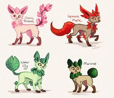 """etchersketch: """"""""Leafeon Subspecies / Variations"""" """"Depending on the location of the Moss Rocks required to trigger evolution in an Eevee, a Leafeon can develop into many diverse forms. """" """" Thistle Leafeon: A larger variation of the Standard Leafeon...."""