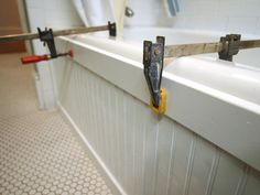 Update a Bathtub Surround Using Beadboard : Page 03 : Rooms : Home & Garden Television Update a Bathtub Surround Using Beadboard Source by. The post Update a Bathtub Surround Using Beadboard appeared first on Mack Makeovers. Home Renovation, Home Remodeling, Bathroom Remodeling, Bathtub Surround, Bath Tub Surround Ideas, Home Design, Design Ideas, Bathroom Inspiration, Bathroom Ideas