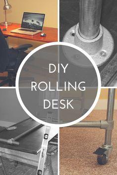 DIY Rolling Desk http://www.simplifiedbuilding.com/blog/diy-rolling-desk/ #DIY #rollingdesk