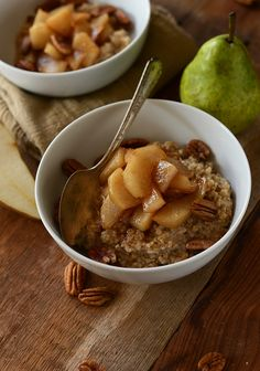 Brown Sugar Pear Steel Cut Oats | via minimalistbaker.com #vegan