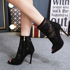 Material:Mesh|Heel Height:10.5cm|Embellishment:Hollow,See-Through