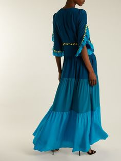 GABRIELLE'S AMAZING FANTASY CLOSET | Peter Pilotto's Tonal Blue Guipure-Lace Tiered Silk Maxi-Dress (Back View) You can see the Front View and the rest of the Outfit and my Remarks on this board. - Gabrielle