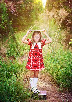 Retro 1969 style V shaped collar dress in red flowers-children clothing-girls dresses