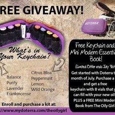 Free Giveaway! The month of July  only. Purchase any #Doterra EssentialOilKit from me in the month of July, and get a FREE Keychain travel kit and a Mini #ModernEssentialsBook. It's a limited time offer ending July 31st. Visit my profile page and enroll as a wholesale member on my website. Questions, email me kimjones@k-grafix.com #freegiveaway #doterra #essentialoils #naturalsolution