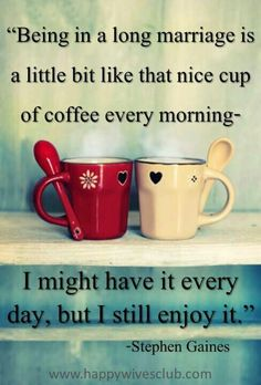 """""""Being in a long marriage is a little bit like that nice cup of #coffee every morning. I might have it every day, but I still enjoy it."""""""