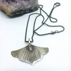 Small Silver Mieka Necklace >>> Floral, Hammered Sterling Silver, Sterling Silver Chain, Organic Hammered Texture, Riveted Construction. on Etsy, $98.00