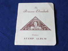 FREE SHIPPING Original Princess Elizabeth (now Queen Elizabeth) New Zealand Miniature Stamp Album Queen Elizabeth stamp New Zealand album Princess Elizabeth, English Royalty, New Zealand, Miniatures, Notes, Stamp, Album, Free Shipping, The Originals