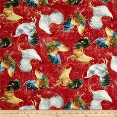 Early to Rise Roosters Allover Red from @fabricdotcom  Designed by Danhui Nai for Wilmington, this cotton print fabric features roosters mingling while the chickens keep eggs warm. Perfect for quilting, apparel and home decor accents. Colors include white, grey, cream, tan, brown, yellow, orange, burnt orange, shades of blue and red, green, dark green, black and taupe.