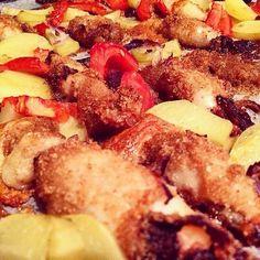 Calamari ripieni e patate.