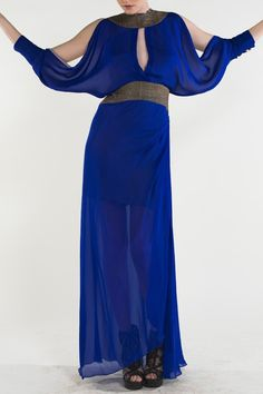 https://www.cityblis.com/11164/item/15052 | style 115 - $710 by NICO DIDONNA | A highlight of the Autumn/ Winter 2013 catwalk show. The Vibrant Cobalt Blue silk Dress. Essential for this season,  flowing lines. contrast brown fabric around collar and waist with cut out to accentuate bust with cut out detailing on sleeves with a pale heather lining.  Materials: 100% pure silk... | #Dresses