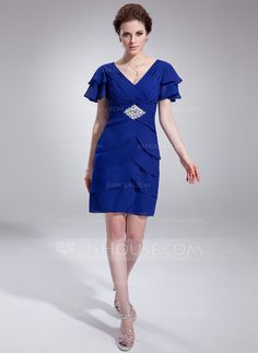 A-Line/Princess V-neck Knee-Length Chiffon Cocktail Dress With Beading Sequins Cascading Ruffles (016021248)
