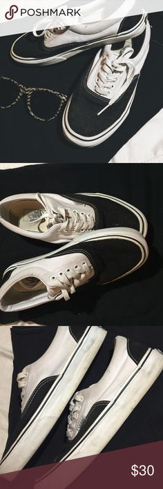 Black & White Vans Size 9! Worn maybe 6 times. These shoes are in pretty dang good condition! Throw them in the wash and I'm sure they'll look brand new. I'll try and clean the white base as much as I can before I ship them off! Vans Shoes Sneakers