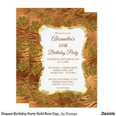 Shop Elegant Birthday Party Gold Rust Copper Damask Invitation created by Zizzago. Bachelorette Party Invitations, Quinceanera Invitations, Birthday Party Invitations, Baby Shower Invitations, Custom Invitations, Elegant Birthday Party, Adult Birthday Party, Corporate Invitation, Xmas Cards