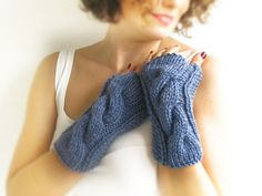 Blue Cable Knit Chunky Gloves by afra on Etsy