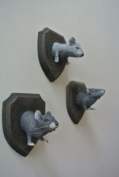 3 Spooky Faux Taxidermy Rat Plaques
