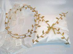 SET Stefana and Wedding Ring Cushion Ancient Greek Style Gold Leafs Grecian Orthodox Greek Wedding Crowns / Tiaras / Stefana / Stephana