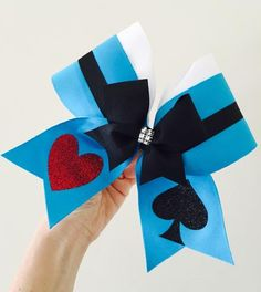 Alice In Wonderland Cheer Bow! spandex with glitter details, ponytail holder attached! Free Shipping!