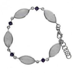 Sterling Silver Rainbow Moonstone Marquise Amethyst Link Bracelet