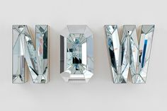 Mirror, Mirror: Reflective Art by Mathias Kiss, Doug Aitken & more :: This Is Glamorous Lettering, Typography Design, Signage Design, Mathias Kiss, Mirror Letters, Mirror Mirror, 3d Letters, Glitter Letters, Mirror Image