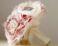 Wedding Brooch Bouquet,  Fabric Flower Bouquet,  Fabric Bridal Bouquet, Weddings, Vintage Wedding