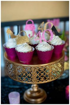 Glittery cupcakes at a 40th birthday party! See more party planning ideas at CatchMyParty.com!