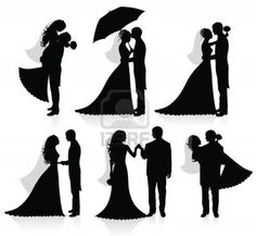 Illustration of Set of vector silhouettes of a groom and a bride. vector art, clipart and stock vectors. Fuchs Silhouette, Silhouette Cake, Black Silhouette, Silhouette Vector, Bride And Groom Silhouette, Wedding Silhouette, Photoshop World, Clip Art, Wedding Couples