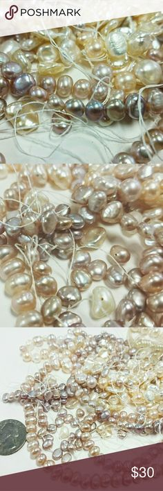 LOOSE REAL PEARLS Crafting Destash Jewelry Making A whole grouping of beautiful lustrous pastel colored real pearls. Some strung, some loose, all used for crafting or make your own spectacular pearl necklace. Variety of shapes and sizes everything you see picture is what you get except for the quarter. Free USA shipping,  PayPal and Facebook payments accepted. Jewelry Necklaces