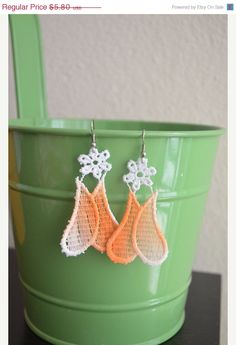 ON SALE Ottoman orange  tulip  lace earrings  by ArtofAccessory, $4.93