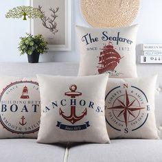 Vintage Cotton Linen Square Pillow Case Marine Nautique decorativecushion cover