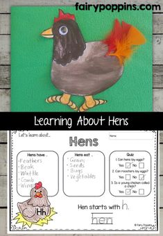 Hen craft template and worksheet activities (labeling, description, writing) - Fairy Poppins Early Learning Activities, Farm Activities, First Grade Activities, Animal Activities, Kindergarten Activities, Writing Activities, Language Activities, Farm Animal Crafts, Farm Crafts