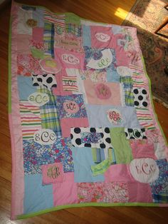 Monogram Quilt.  I want to have something similar made with some of Addy's clothes that are monogramed.
