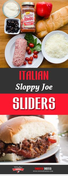 Italian Sloppy Joe Sliders | Italian sausage, hearty tomato sauce, and vegetables, topped with mozzarella in between two slices of sweet Italian bread.