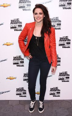 Kristen Stewart and Balenciaga Quilted Motorcycle  Jacket in Lipstick