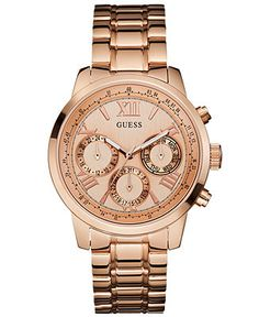 GUESS Women's Rose Gold-Tone Stainless Steel Bracelet Watch that I got for my birthday! In love <3