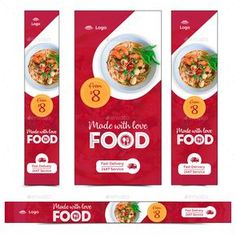 Buy Food Web Banner Set by Hyov on GraphicRiver. Promote your Products and services with this great looking Banner Set. Social Design, Web Design, Web Banner Design, Media Design, Web Banners, Food Branding, Logo Food, Food Poster Design, Food Design