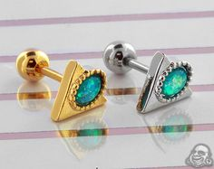 Synthetic Opal Pharaoh Barbell - Tragus Tragus, Barbell, Body Jewelry, Belly Button Rings, Piercings, Opal, Cufflinks, Stud Earrings, Gauges