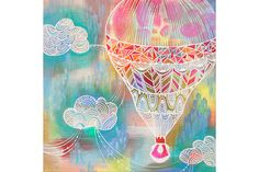 Get carried away to dreamland. Perfect Day for a Balloon Ride canvas wall art sets the scene with an intricately patterned hot air balloon surrounded by a colorful sky. Kids will love this whimsical display. Abstract Canvas, Canvas Wall Art, Canvas Prints, Joey Chou, 7th Grade Art, Painting Prints, Art Prints, Paintings, Amazing Drawings