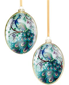 """Holiday Lane Set of 2 Peacock Oval Disc Ornaments - Holiday Lane - Macy's This elegantly painted set of peacock ornaments gives your tree an added touch of sophistication. Glass Imported Set of two: 5.5"""" each Wipe clean Hangs from a gold color metal cap with suspension ring and a cord loop hanger Peacock decal on back with gold paint and gold foil"""
