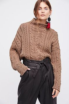 Let's Link Up Cable Pullover from Free People! Knit Fashion, Knitting Designs, Colorful Fashion, Pullover Sweaters, Knitwear, Free People, Sweaters For Women, Turtle Neck, Style Inspiration