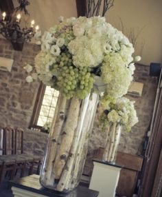 Tall centrepieces with birch trees