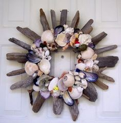 driftwood, seashell wreath