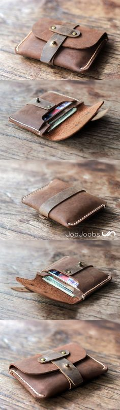 The Treasure Chest Credit Card Wallet by JooJoobs is handmade from full grain oil leather. Its rustic appeal made it the #1 selling Wallet on Etsy. This wallet also can be personalized making it an awesome bridemaid gift. #Wallet #bridesmaid #gift