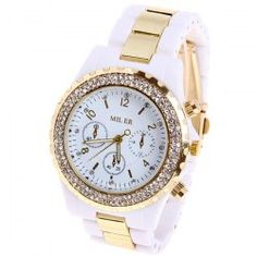 $8.92 Miler Quartz Watch Number and Strips Indicate Round Dial with Steel and Plastic Watch Band for Women (White)