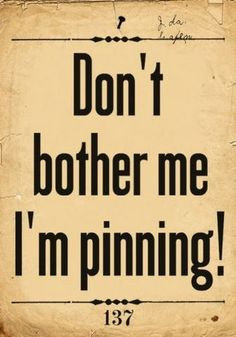 Don't Bother Me I'm Pinning ! by mytakeonlife.com: This seems to be an unspoken mantra at our house. #Pinterest