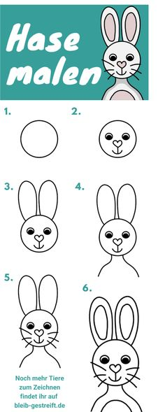 Learning to draw a bunny for children - 3 easy instructions Easter Drawings, Art Drawings For Kids, Drawing Lessons, Drawing Tips, Step By Step Drawing, Art Challenge, Learn To Draw, Origami, Bunny
