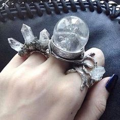 Clear Quartz Crystal Ball Ring by KRUELINTENTIONS on Etsy